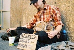 A homeless man and his dog. Check out these alternatives to homelessness. photo by Adrian Miles on Flickr
