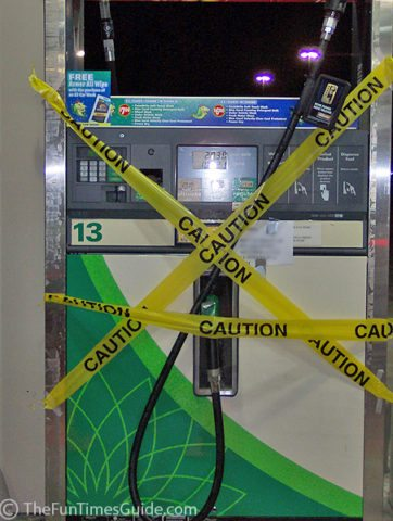Caution: Don't use your debit card at the gas tank. Photo by Lynnette at TheFunTimesGuide.com