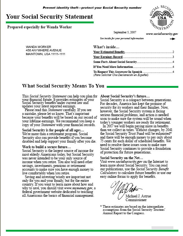 Making Sense Of Your Social Security Statement Sample  HereS What